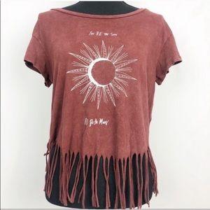American Eagle Sun & Moon Boho Fringed T Shirt